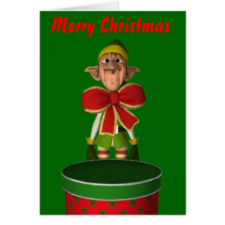 Funny elf with bow and cake tin Greeting Card