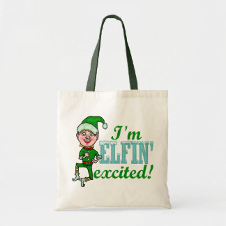 Funny Elfin Excited Christmas Tote Bag