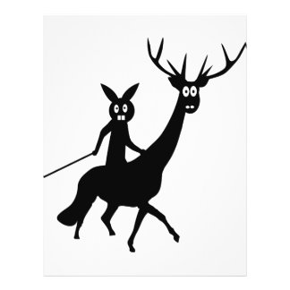 funny elk and bunny icon flyer