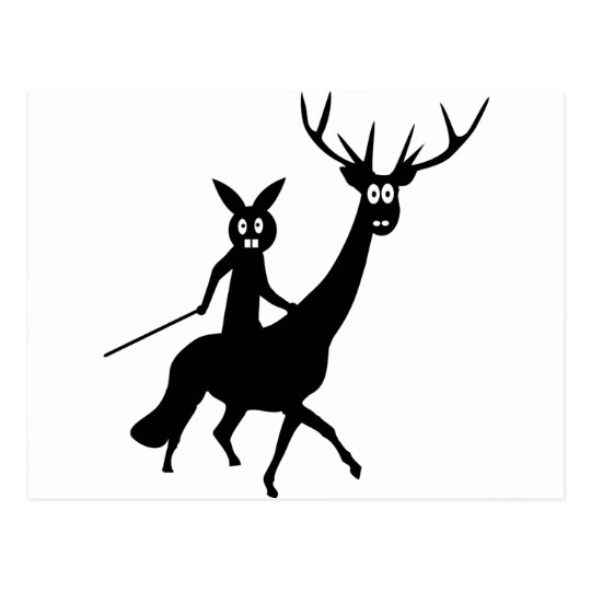 funny elk and bunny icon postcard