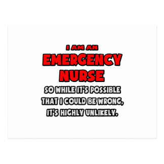 Funny Emergency Nurse .. Highly Unlikely Postcard