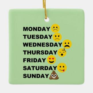 Funny Emoji Days Of The Week Christmas Ornament