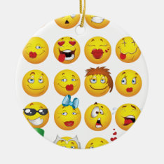 Funny Emoji Faces Cool Awesome Smiles Ceramic Ornament at Zazzle
