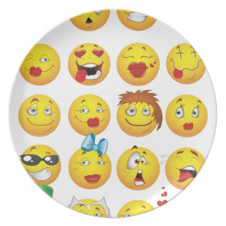 Funny Emoji Faces Cool Awesome Smiles Dinner Plate