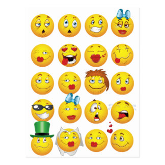 Funny Emoji Faces Cool Awesome Smiles Postcard