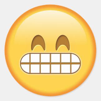 Funny emoji glossy round sticker