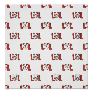 Funny Emoji Laughing Out Loud Pattern Poster