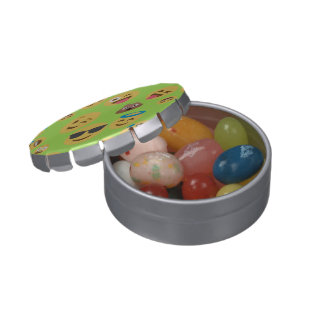 Funny Emoji Pattern (green) Jelly Belly Tin