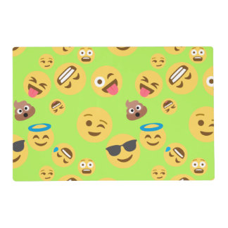 Funny Emoji Pattern (green) Placemat