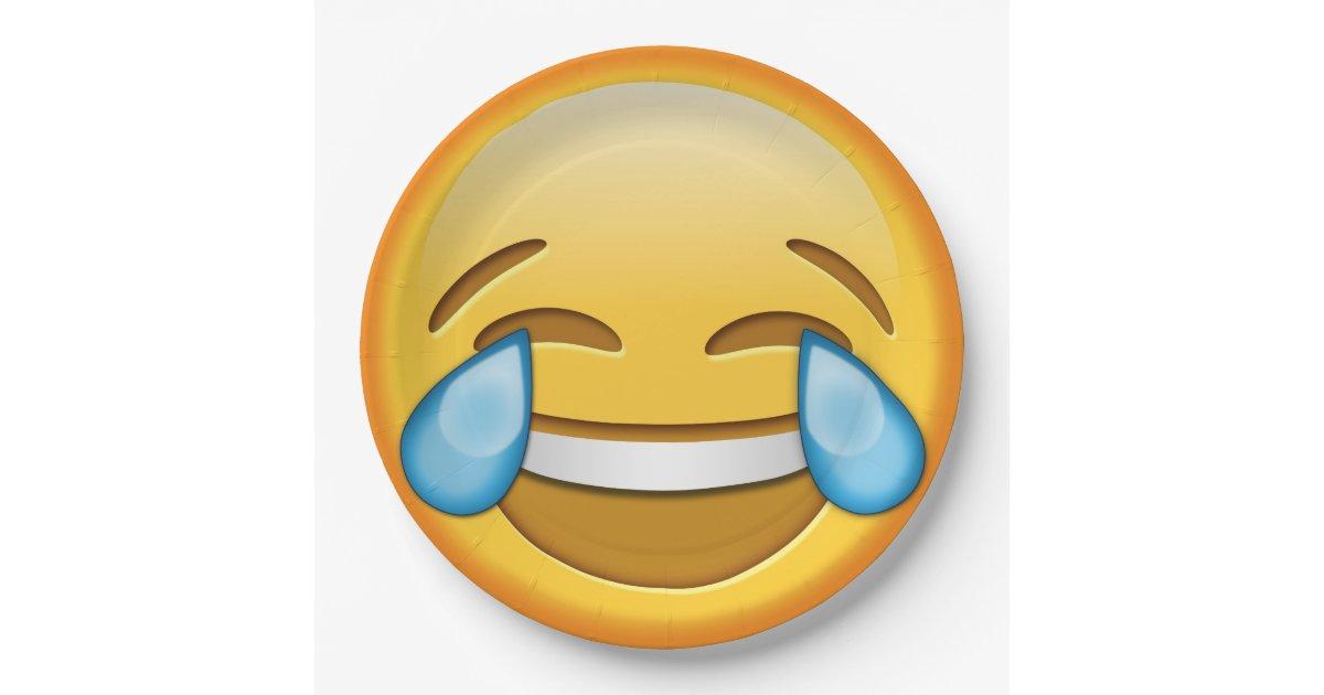 Funny Emoji Smiley Joy Laughter Paper Plate Zazzle