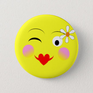 Funny Emoji Style Smiley Faces Theme Button
