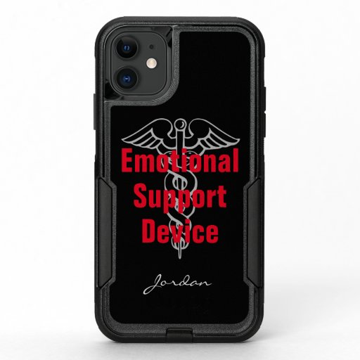 Funny Emotional Support Device Personalized Black OtterBox Commuter iPhone 11 Case