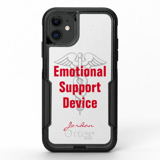 Funny Emotional Support Device Personalized White OtterBox Commuter iPhone 11 Case