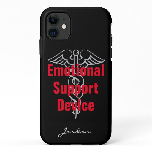 Funny Emotional Support Device with Name Black iPhone 11 Case