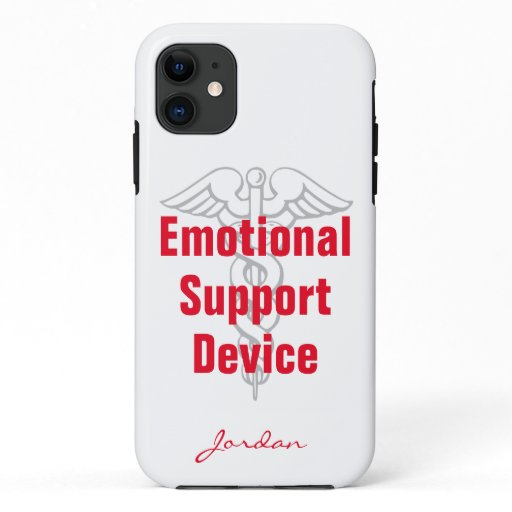 Funny Emotional Support Device with Name White iPhone 11 Case