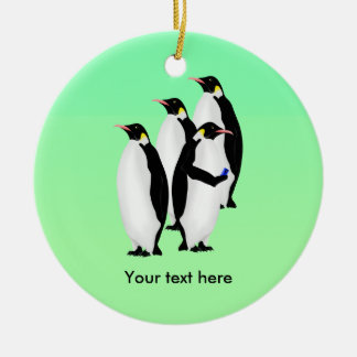 Funny Emperor Penguin On A Mobile Phone Ceramic Ornament