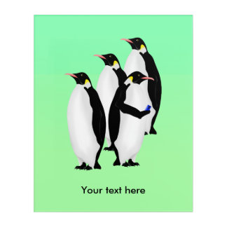 Funny Emperor Penguin On A Mobile Phone Device Acrylic Wall Art