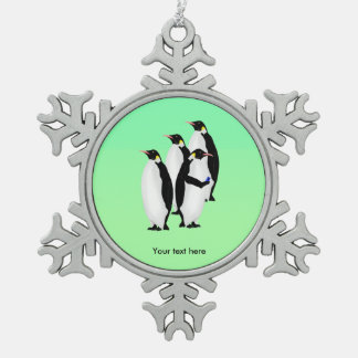 Funny Emperor Penguin On A Mobile Phone Snowflake Pewter Christmas Ornament