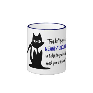 Funny Employee and Cat Coffee cup for the Office Ringer Coffee Mug