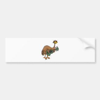 Funny Emu Bird Playing Guitar Cartoon Bumper Sticker