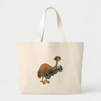 Funny Emu Bird Playing Guitar Cartoon Large Tote Bag