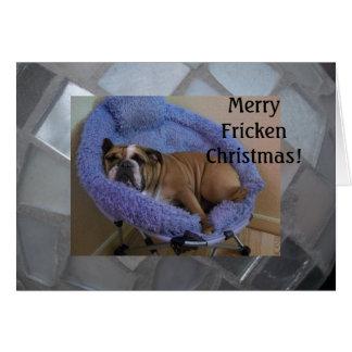 Funny English Bulldog Christmas Cards! Greeting Card