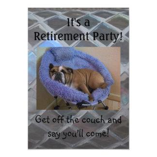 Funny English Bulldog Retirement Party Invitations