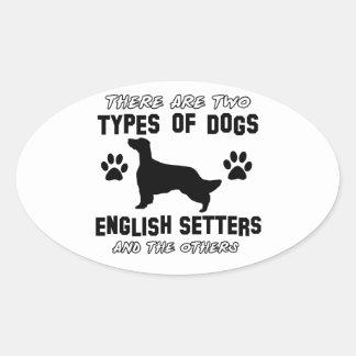 Funny english setter designs oval sticker