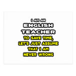 Funny English Teacher T-Shirts and Gifts Post Cards