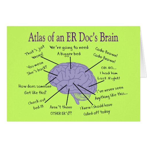 Funny ER Doctor Physician Gifts Greeting Cards