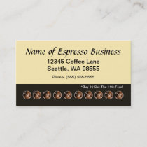 Funny Espresso Punch Card Coffee Beans