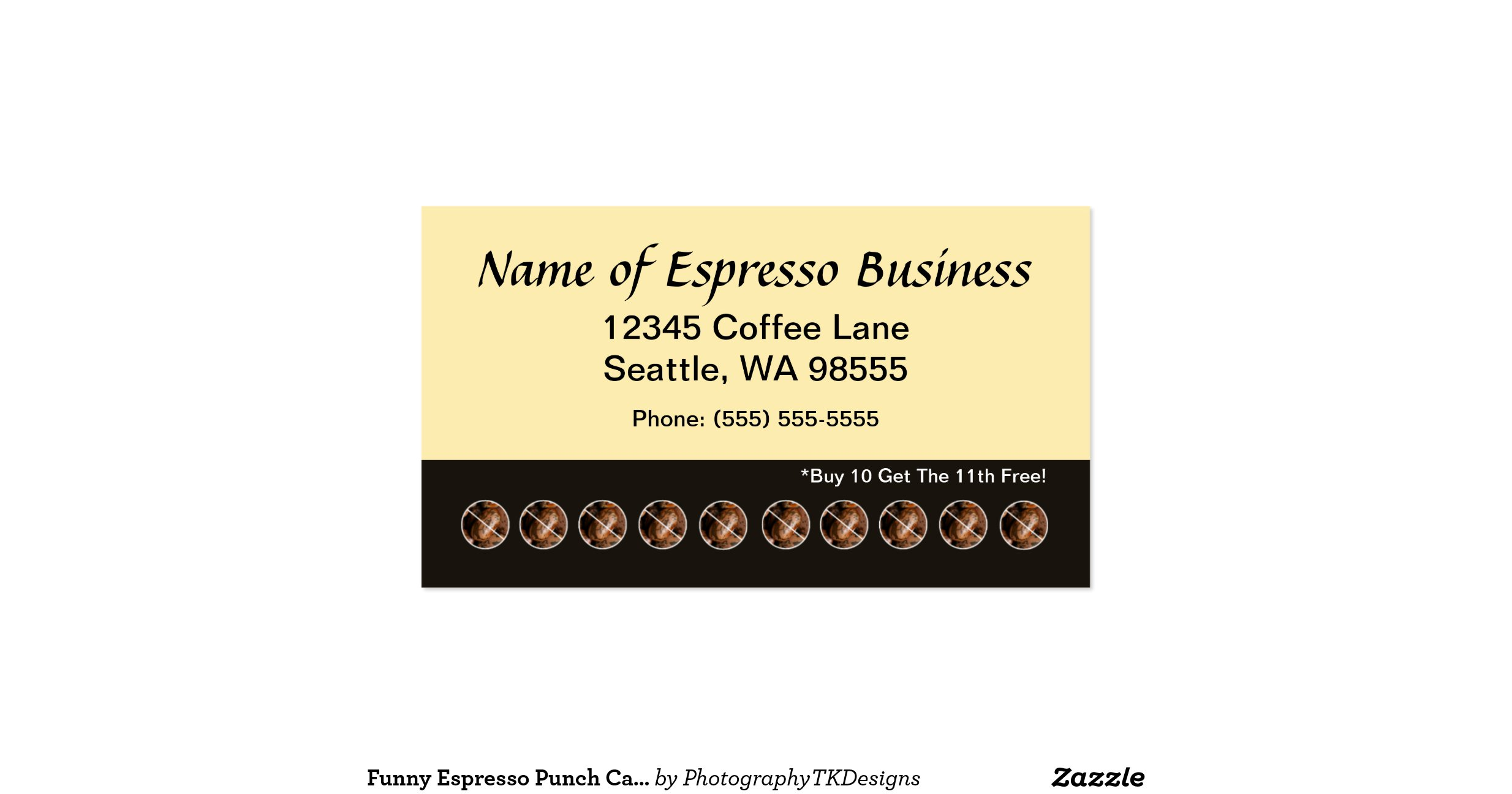 Funny Espresso Punch Card Coffee Beans Double Sided