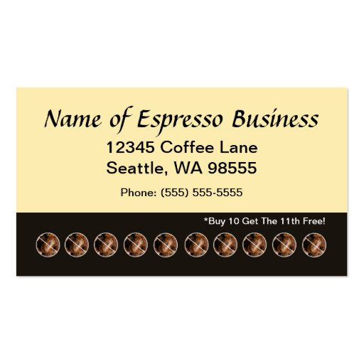Funny Espresso Punch Card Coffee Beans Standard Business