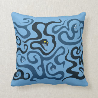 Funny Evil Cartoon Snakes In Love Throw Pillow