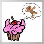 Funny Evil Cookie Killer Cupcake Poster
