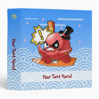 Funny Evil Octopus with Moustache and surfboard Vinyl Binder