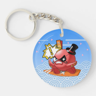 Funny Evil Octopus with Mustache and Eye Patch Single-Sided Round Acrylic Keychain