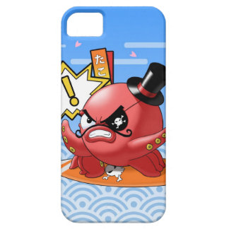 Funny Evil Red Octopus with Seigaiha Pattern iPhone SE/5/5s Case