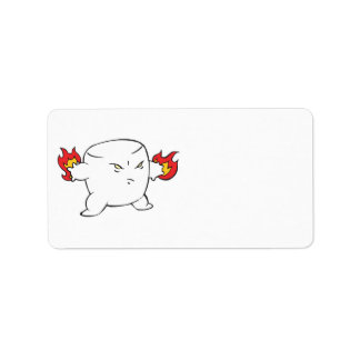 funny evil roasted marshmallow address label