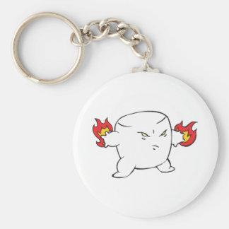 funny evil roasted marshmallow basic round button keychain