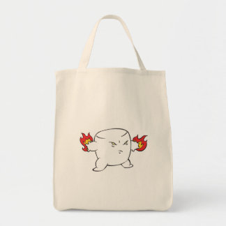 funny evil roasted marshmallow grocery tote bag