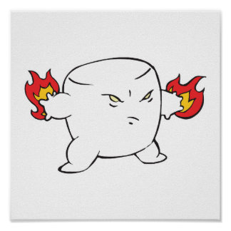 funny evil roasted marshmallow poster