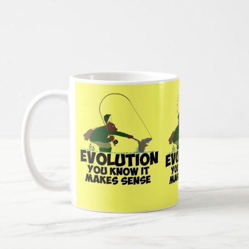 Funny evolution basic white mug