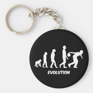 funny evolution bowling basic round button keychain