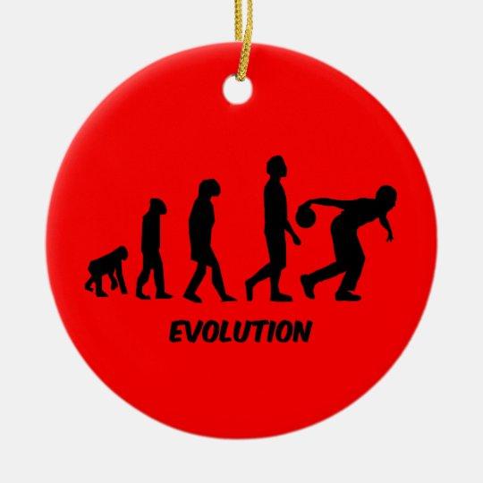 funny evolution bowling ceramic ornament