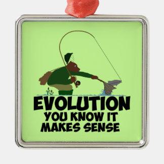 Funny evolution metal ornament