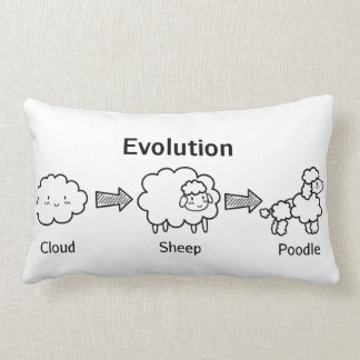 Funny evolution of cloud into sheep and poodle lumbar pillow