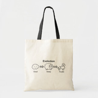 Funny evolution of cloud into sheep and poodle tote bag
