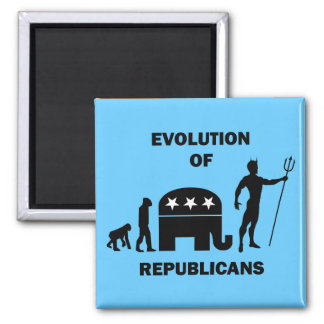 Funny evolution Republican 2 Inch Square Magnet