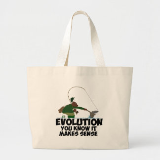 Funny evolution tote bags